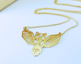 Owl Necklace, Origami Necklace, Bird Necklace, Animal Necklace, Geometric Necklace, Owl Jewelry, Bird Jewelry, Bird Lovers, Birthday gifts