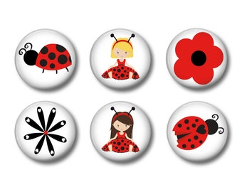 Magnets Set of 6 one inch (2.5cm) magnets - Ladybird