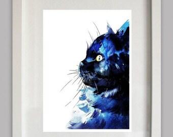 Cat Art Print - Watercolor Painting - Cat Print - Wall Decor, Wall Art