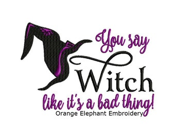 Halloween Witch Bad Thing Unique Urban Machine Embroidery Design digital File