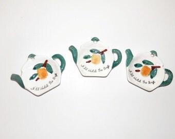 Three Vintage Ceramic Tea Pot Shaped Tea Bag Holders