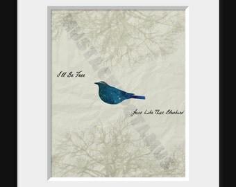 Bowie Bluebird Minimalist Print