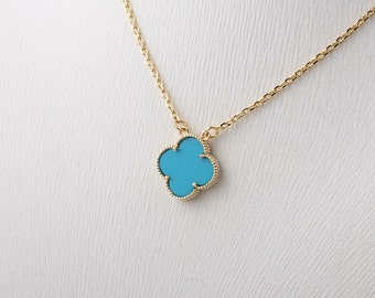 15mm-motif Turquoise four leaf clover charm necklace, prong-settings necklace, gold plated pendant