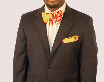 A Bow Tie with a pocket Square Set