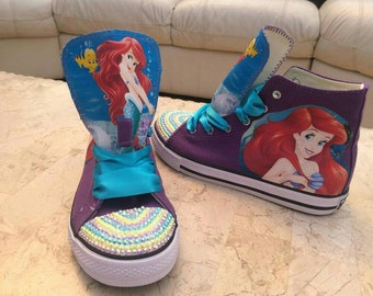 Custom Shoes Hi Tops Sneakers Little Mermaid Personalised Pumps Girls Theme Trainers