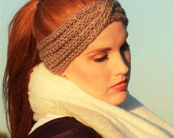 Knit Ear Warmer Headband in Taupe
