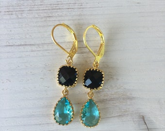 Earrings turquoise and black glass