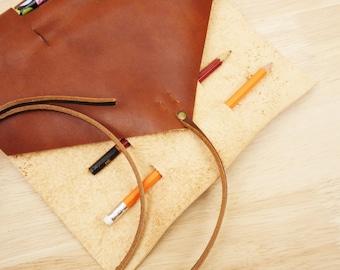 Leather pencil roll, leather pen roll, leather pencil case, rollup leather case, leather tool roll, personalized gift, paintbrush roll
