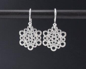 Hexagon Circle Earrings Sterling Silver Dangle Earrings, Bubble Earrings, Filigree Earrrings, Geometeric Eaerrings, Small Silver Dangle