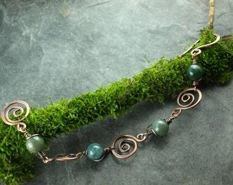 Bracelet, wire work, spiral, MOSS agate, gemstone