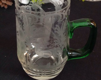 Nice etched drinking glass/tankard