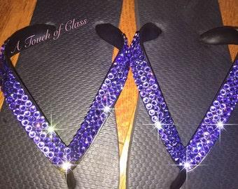 Swarovski Flip Flops Purple Crystals Comfortable Bling Blinged Out Flip Flops