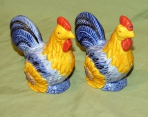 Vintage Salt Pepper Shakers Roosters Sunflowers Country Kitchen Décor Hand Painted Avon China