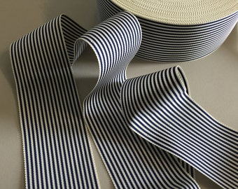 Vintage White and Navy Striped Gros Grain Ribbon, made out of Cotton/Rayon - 2 inches wide