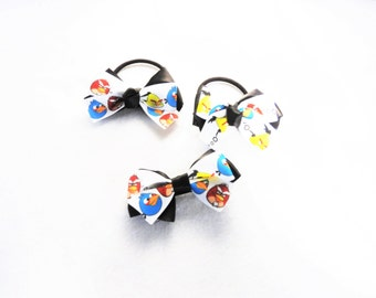 angry birds set of 3  hair, clip black