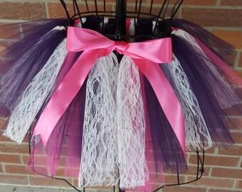 Girl's Lace Tutu Skirt, Lace Skirt, Pink and Purple Tutu, Girl's Lace dress, 1st Birthday Tutu, Girl's Tutu Outfit, Lace Skirt, Newborn Tutu