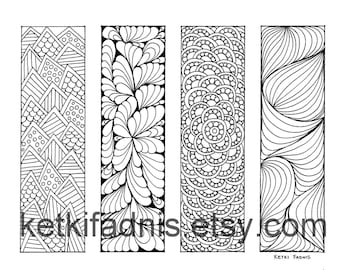 coloring bookmarks patterns bookmarks coloring page instant pdf download digital download hand - Halloween Bookmarks To Color