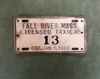 Vintage rare 1965 Fall River taxi license plate