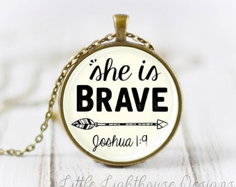 Large She Is Brave Necklace Christian Necklace Christian Jewelry Large Pendant Necklace Scripture Pendant Inspirational Gift