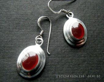 Vintage Carnelian Silver Earrings Carnelian Drop Earrings Sterling Silver Orange Carnelian Dangle Earrings Carnelian Jewelry Unique Earrings