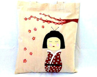 SALE, Famers Market Bag, Cotton Tote Bag, Reusable Tote Bag, Teacher Bag, Kokeshi Gift, Cotton Canvas Bag, Shopping Bag, Grocery Tote