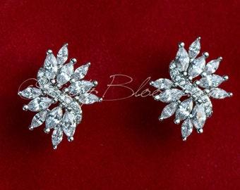 CZ Bridal Stud Earrings, Crystal Stud Earrings, Bridal Post Earrings, Cubic Zirconia Earrings, Silver Bridal Earrings, Gift CZ Earrings