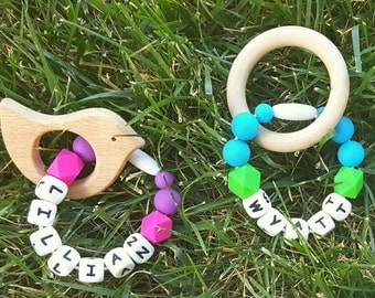 Personalized Teethers - Wood Teethers - Personalized Baby Shower Gift - Customizable Baby Gift - Unique Baby Shower Gift