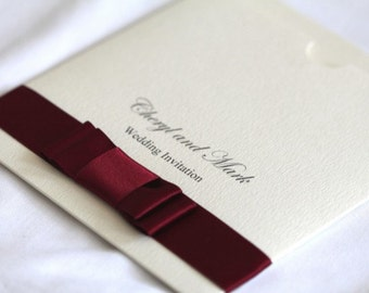 Double satin bow and diamante detailed invitation