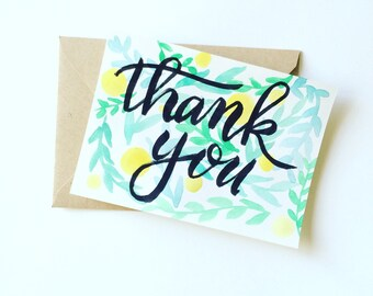 Set of 5 Thank you cards - Spring colors