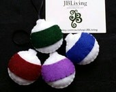 white Felt baubles with coloured stripe