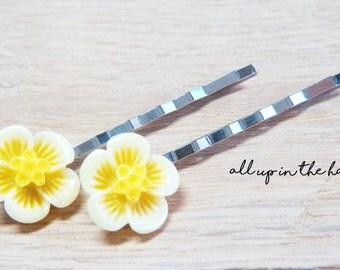 Yellow Hibiscus Bobby Pins - Yellow Flower Bobby Pins