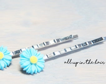 Flower Bobby Pins - Blue Daisy Bobby Pins