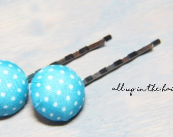 Blue Polka Dot Bobby Pins - Blue Hair Pins
