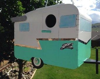 1961 Shasta Camp Trailer Birdhouse - Seafoam