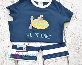Summer Pajamas, Summer PJs, Boys Pajamas, Boys PJs, Submarine pajamas, submarine applique, submarine embroidery, nautical pajamas, beach pj