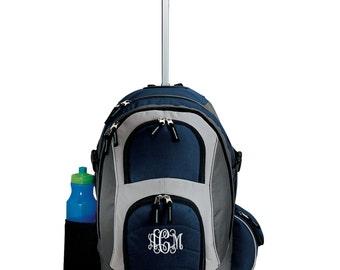 Rolling Backpack - Monogrammed. Backpack With Wheels. Embroidered Backpack. School College Backpack. Monogram Wheeled Backpack. SM-BG76S