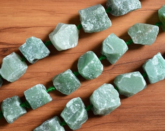 Natural Raw Green Aventurine Nugget Beads Center Drilled  Rough Stone Beads Organic Shape 0099