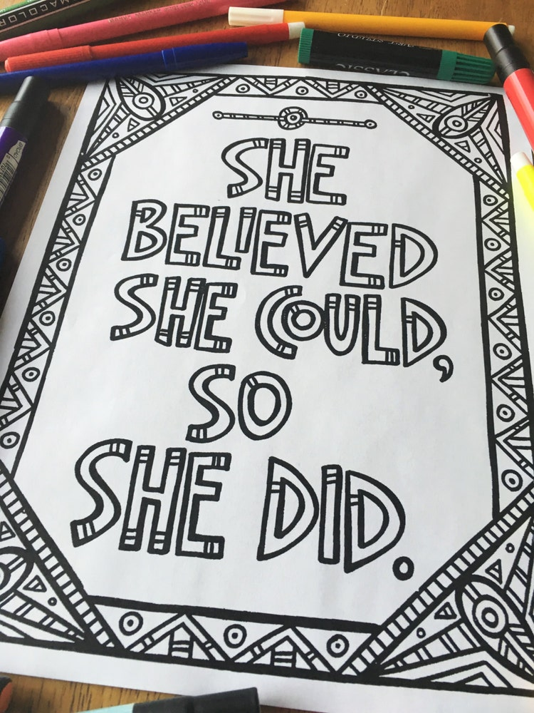 Printable Coloring Page She Believed She Could By