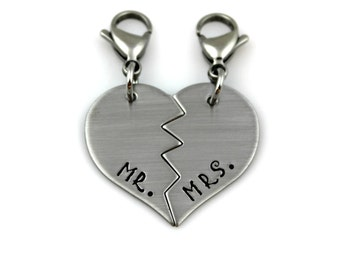MR. and MRS. Split Heart Keychain, Charms, or Necklaces for Wedding or Anniversary Bride and Groom Gift