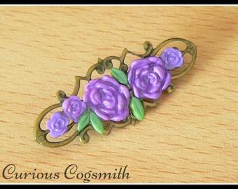 Purple Flower Brooch - Flower Pin - Victorian Brooch - Victorian Pin - Floral Brooch - Floral Pin