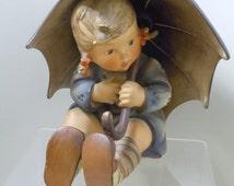 Hummel Large 8 inch Umbrella Girl 152B Tmk3 1950's W Goebel Western Germany Stylized Bee Figurine Porcelain Sculpture