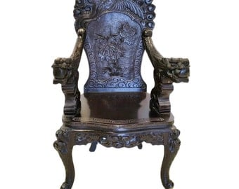 Vintage Chinese Hand Carved Dragon Chair