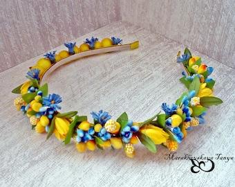 FLower headband Blue-yellow double)