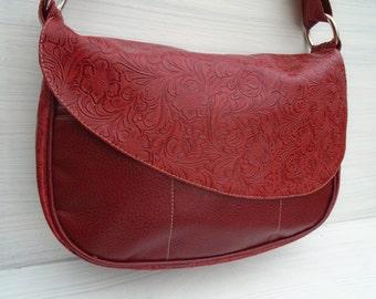 Vegan leather crossbody purse, red faux leather purse, unique womens handbag, laptop carrier, handmade handbag, artistic womens purse