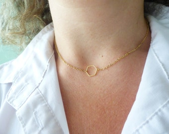 Tiny Gold Necklace, Hexagon Necklace, Dainty Necklace, Delicate Necklace, Simple Geometric Necklace, Minimal Necklace,Modern Gold Necklace