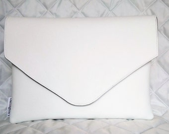 White Faux Leather  Envelope Clutch
