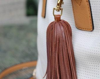 Brown Genuine Leather Tassel Keychain