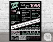 The Year 1956, Personalized 60th Birthday Digital Poster, PRINTABLE 60th Birthday Sign, 1956 Fun Facts, 60th Birthday Gift, DIGITAL FILE