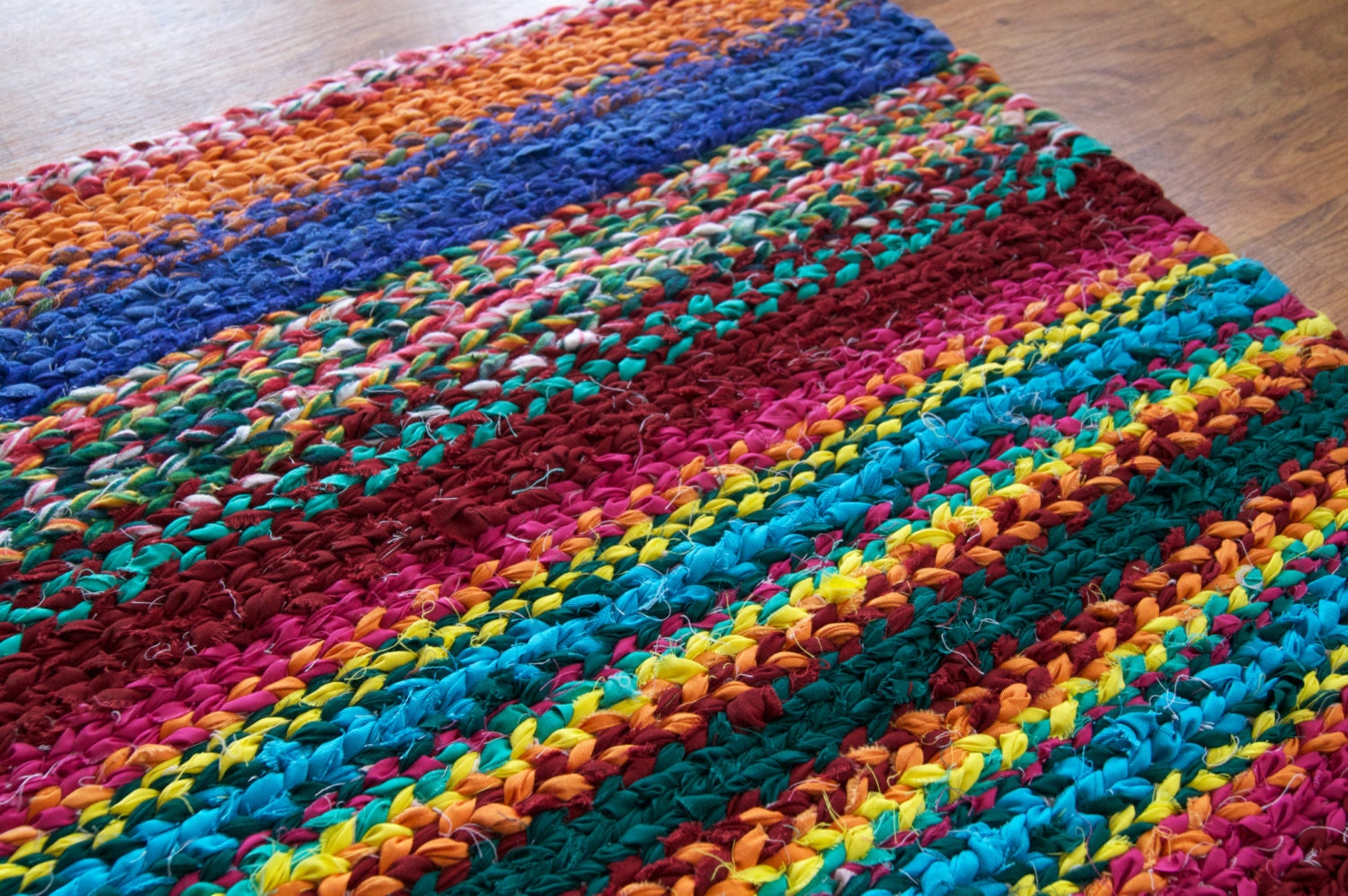 Rag Rug Twined Colorful Rug 36 X 27 Inches