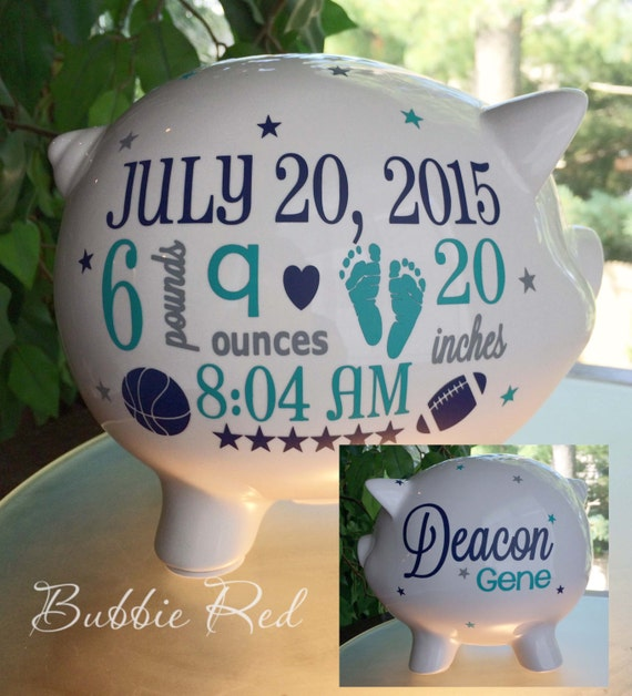 Personalized Baby Gift Ideas Boy : Personalized piggy bank baby boy birth stats